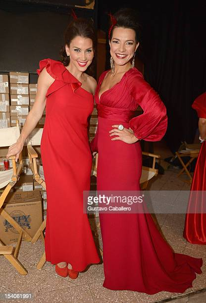 Gabriela Vergara and Candela Ferro attends the Red Dress Fashion Show at Funkshion to benefit Go Red For Women on October 12 2012 in Miami Beach...