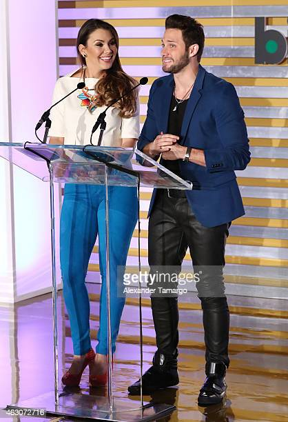 Gabriela Vergara and Gabriel Coronel attend Billboard Latin 2015 nominess press conference on February 9 2015 in Doral Florida