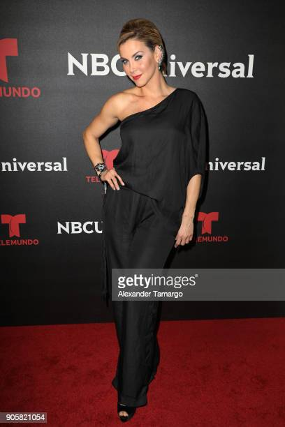 Gabriela Vergara arrives at the Telemundo and NBC Universal Latin America NATPE Red Carpet Event at LIV at the Fontainebleau on January 16 2018 in...