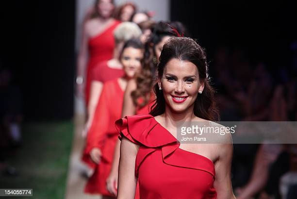 Gabriela Vergara walks the runway during Red Dress Fashion Show at Funkshion to benefit Go Red For Women on October 12 2012 in Miami Beach Florida