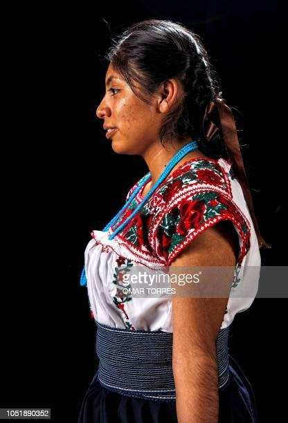 Gabriela Zambrano Chantez poses for a photograph during the presentation of the Huey Atlixcayotl Festival on September 29 2018 in Atlixco Puebla...