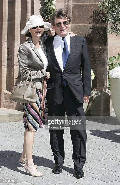 Gabriele and Thomas Haffa arrive at the church prior to the wedding ceremony of Patrick Graf von FaberCastell and actress Mariella Ahrens on July 07...