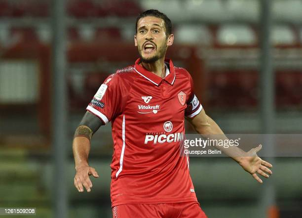 Gabriele Angella of AC Perugia looks on during the serie B match between AC Perugia and Trapani Calcio at Stadio Renato Curi on July 27, 2020 in...