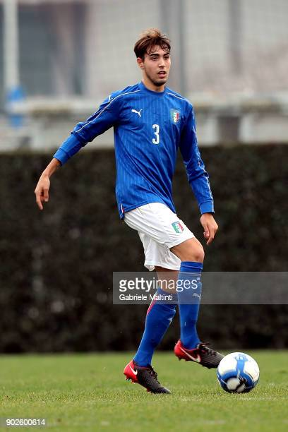 Gabriele Bellodi of Italy in action during the at Coverciano 'Torneo Dei Gironi' Italian Football Federation U18 Tournament on January 8 2018 in...