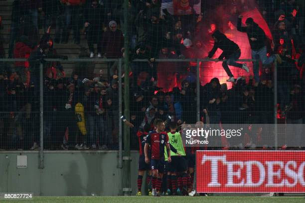 Gabriele Bove of SS Sambenedettese celebrate the goal of 01 during the Lega Pro 17/18 group B match between Teramo Calcio 1913 and SS Sambenedettese...