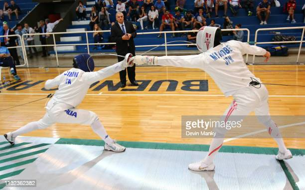 Gabriele Cimini of Italy fences Kazuyasu Minobe of Japan during finals competition at the Men's Epee World Cup on March 23 2019 at the Centro...