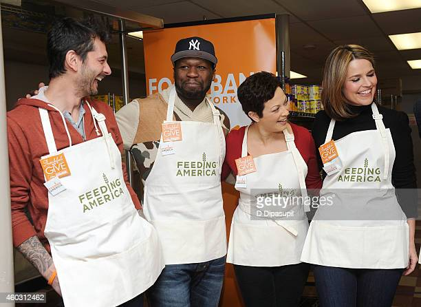 Gabriele Corcos 50 Cent Ellie Krieger and Savannah Guthrie attend Feeding America Hosts BiCoastal Celebrity Volunteer Event at the Food Bank For New...
