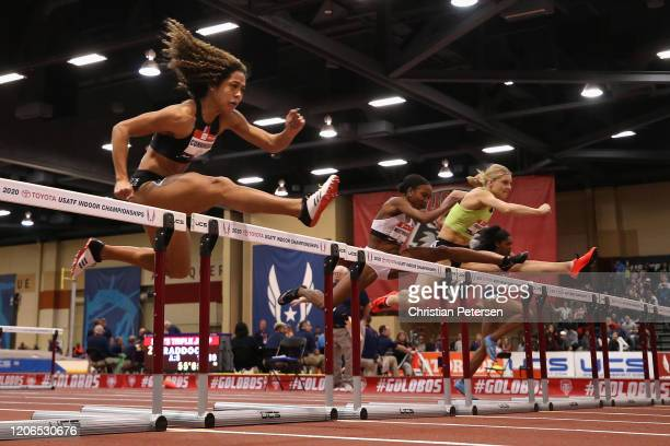 Gabriele Cunningham competes in the Women's 60 Meter Hurdles final during the 2020 Toyota USATF Indoor Championships at Albuquerque Convention Center...