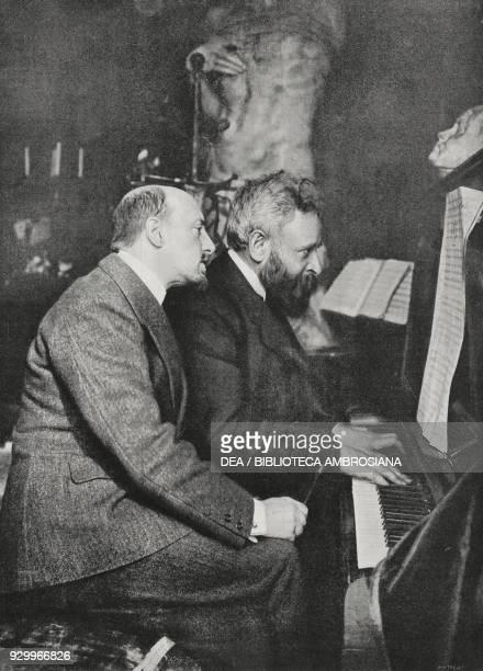 Gabriele d'Annunzio and Alberto Franchetti performing music for La Figlia di Iorio on the piano photograph by Nunes Vais from L'Illustrazione...