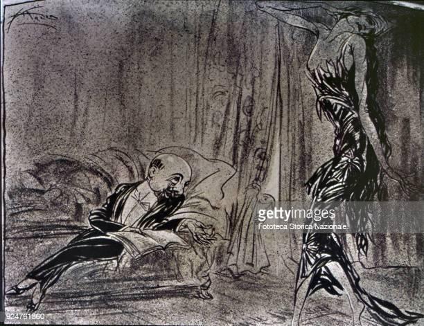 Gabriele D'Annunzio and Ida Rubinstein into a caricature by 'Guerin Meschino' Italy Milan June 15 1913