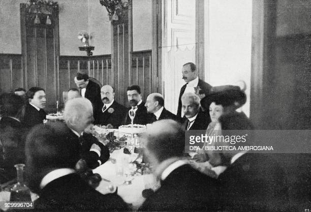 Gabriele D'Annunzio celebrating the success of The Ship Rome January 15 Italy photograph by Charles Abeniacar from L'Illustrazione Italiana Year XXXV...