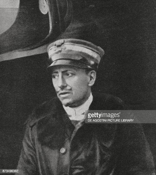 Gabriele D'Annunzio Commander of the Serenissima squadron Italy World War I from l'Illustrazione Italiana Year XLV No 40 October 6 1918