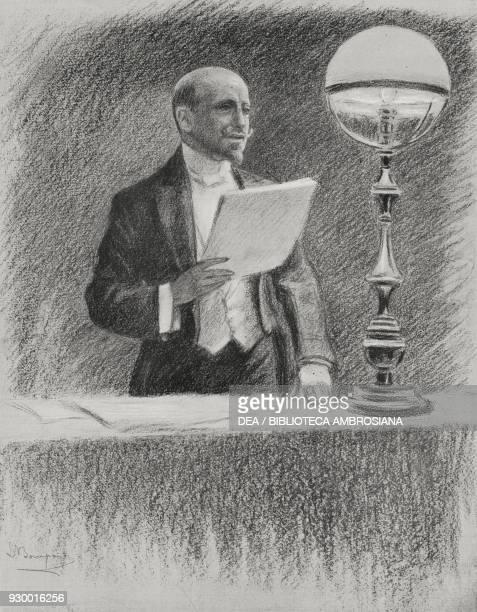 Gabriele d'Annunzio during the conference entitled Il dominio del cielo at Teatro Lirico in Milan Italy drawing by Luigi Bompard from L'Illustrazione...