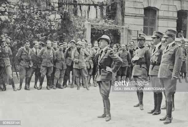 Gabriele D'Annunzio holding a speech in front of the legionnaires during the celebration of St Gabriel March 18 Rijeka Croatia from L'Illustrazione...