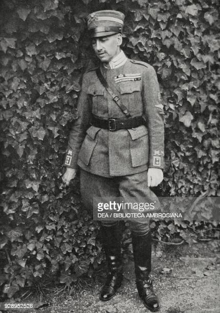 Gabriele D'Annunzio in the garden of the palace of command in Rijeka one year after the March of Ronchi Croatia from L'Illustrazione Italiana Year...