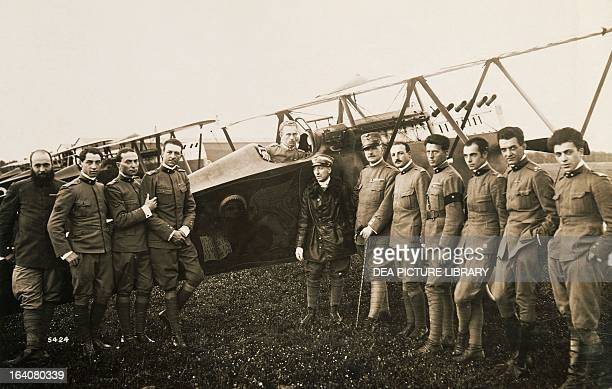 Gabriele d'Annunzio in the middle of a group of officers before departure of the flight to Vienna August 1918 World War I Italy 20th century Rovereto...