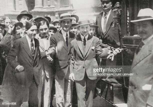 Gabriele d'Annunzio participating in a patriotic event for Italy's war entry Rome Italy World War I photo by Argus from L'Illustrazione Italiana Year...