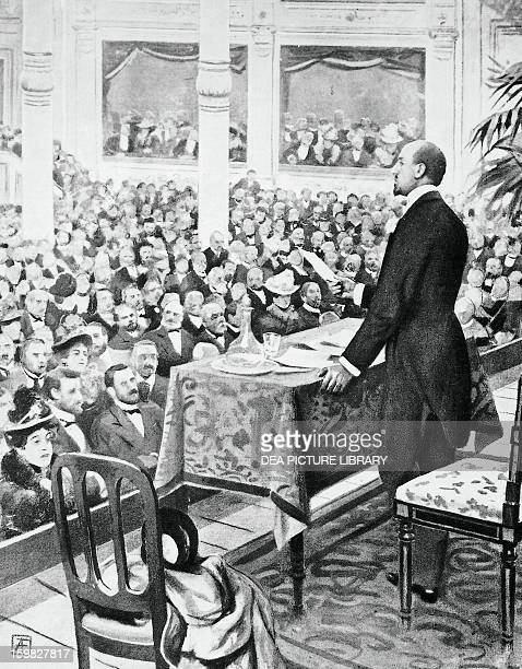 Gabriele d'Annunzio reading the Song of Garibaldi at the Olympia theater in Milan engraving from L'Illlustrazione italiana 1901 Italy 20th century