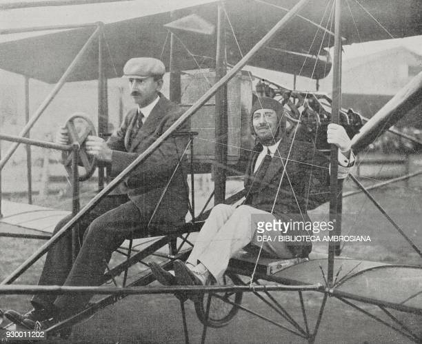 Gabriele d'Annunzio taking off on a first flight with pilot Glenn Hammond Curtiss at the Aerial Circuit of Brescia Italy photo by Fiorilli from...