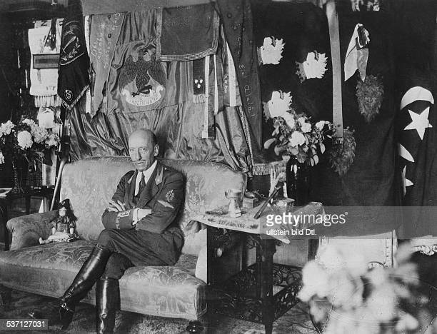 Gabriele D'AnnunzioGabriele D'Annunzio Italian poet and politician at home in the Villa Cargnacco in Gardone Riviera on Lake Garda in Northern Italy...