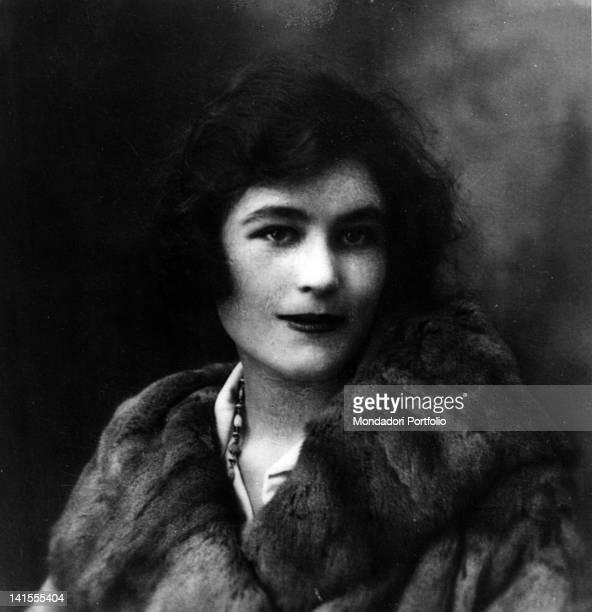 Gabriele D'Annunzio's mistress Angele Lager nicknamed Jouvence dressed with a fur coat 1920s