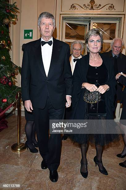 Gabriele Galateri di Genola and Evelina Christillin attend the Teatro Alla Scala 2014/15 season opening on December 7 2014 in Milan Italy