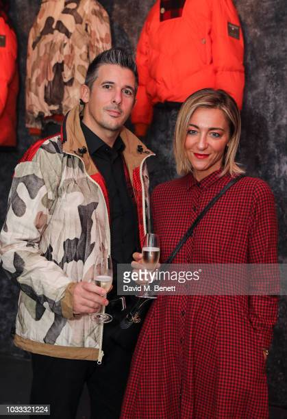 Gabriele Gianello and Valeria Caffagni attend the Griffin X Woolrich capsule collection launch presented by Highsnobiety during London Fashion Week...