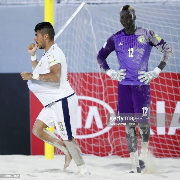 Gabriele Gori of Italy celebrates a goal during the FIFA Beach Soccer World Cup Bahamas 2017 quarter final match between Italy and Senegal at...