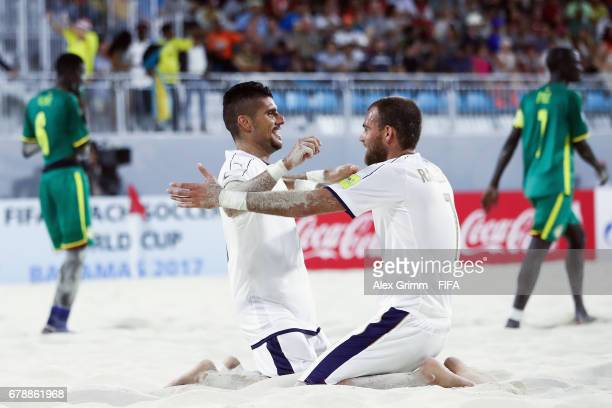 Gabriele Gori of Italy celebrates a goal with team mate Dario Ramacciotti during the FIFA Beach Soccer World Cup Bahamas 2017 quarter final match...