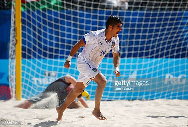 Gabriele Gori of Italy celebrates scoring a goal during the Men's Beach Soccer gold medal match between Italy and Russia on day sixteen of the Baku...