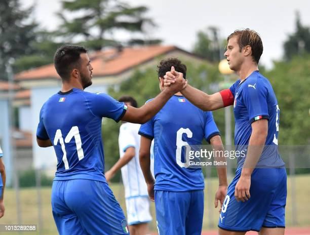 Gabriele Gori of Italy U20 celebrates after scoring the opening goal during the International Friendly match between Italy U20 and San Marino U20 on...