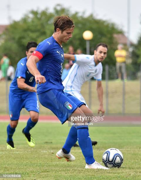 Gabriele Gori of Italy U20 kicks the penalty and scores the opening goal during the International Friendly match between Italy U20 and San Marino U20...