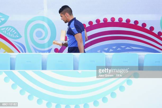 Gabriele Gori of Italy walks off with his adidas Golden Boot award after the FIFA Beach Soccer World Cup Bahamas 2017 final between Tahiti and Brazil...