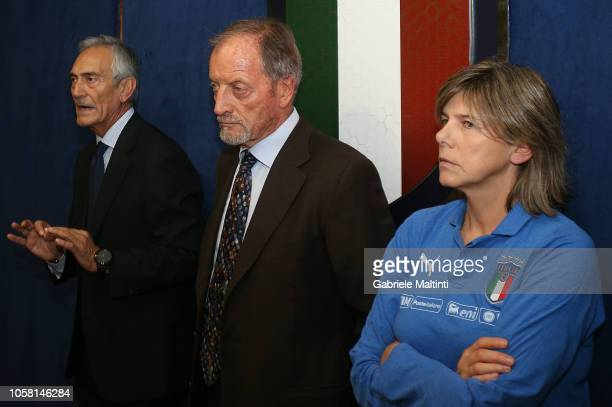 Gabriele Gravina President Figc L9 Renzo Ulivieri of Figc and Milena Bertolini manager of Italy Women during a ceremony to mark 60 years of FC...