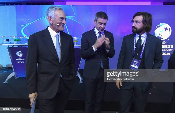 Gabriele Gravina president of FIGC Alessandro Costacurta and Andrea Pirlo during the 2019 Under21 EURO final tournament draw on November 23 2018 in...
