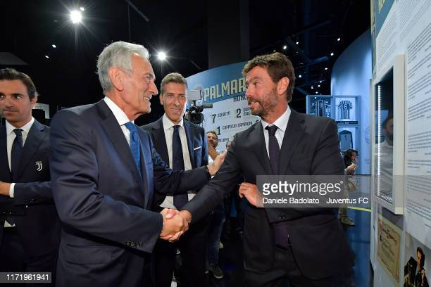 Gabriele Gravina , Riccardo Scirea and Andrea Agnelli talk during the Gaetano Scirea Exhibition Opening at J Museum on September 03, 2019 in Turin,...