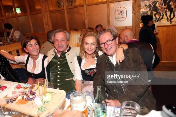 Gabriele Haffa Franz Prinz von Auersperg and Dr Sigrid Streletzki and Thomas Haffa during the opening of the Oktoberfest 2017 at Schuetzenfestzelt at...