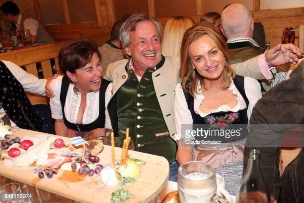 Gabriele Haffa Franz Prinz von Auersperg and Dr Sigrid Streletzki during the opening of the Oktoberfest 2017 at Schuetzenfestzelt at Theresienwiese...