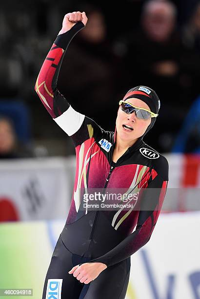 Gabriele Hirschbichler of Germany reacts after her race in the Ladies' 1500m Division A race during Day 3 of the Essent ISU World Cup Speed Skating...