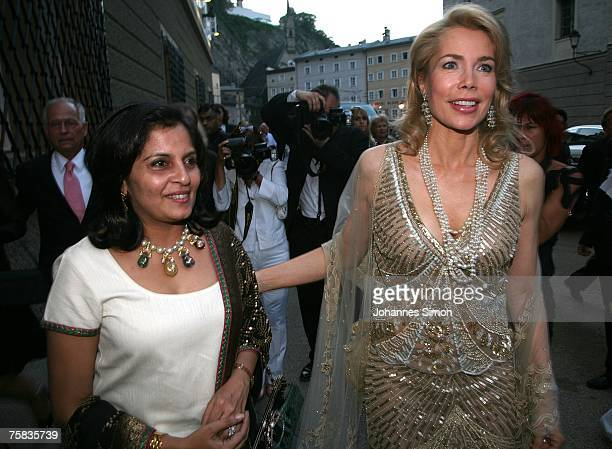 Gabriele Inaara Begum Aga Khan and a friend arrive for the opening concert of Salzburg summer festival on July 27 2007 in Salzburg Austria
