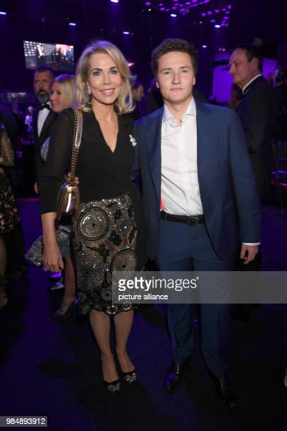 Gabriele Inaara Begum Aga Khan and her son Prince Aly Muhammad Aga Khan pictured at the Kitz Race Club Party 2018 in Kitzbuehel Austria 20 January...