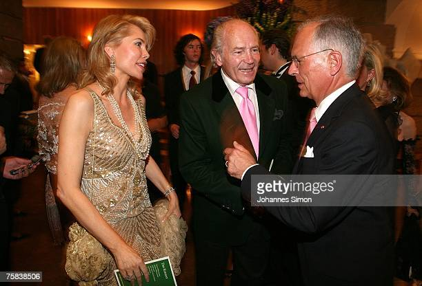 Gabriele Inaara Begum Aga Khan chats prior to the opening concert of Salzburg summer festival on July 27 2007 in Salzburg Austria