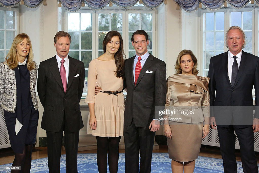 Gabriele Lademacher , Grand Duke Henri of Luxembourg, Claire Lademacher, Prince Felix of Luxembourg, Grand Duchess Maria Theresa of Luxembourg and Hartmut Lademacher attend a Portrait Session at Chateau De Berg on December 27, 2012 in Luxembourg, Luxembourg.