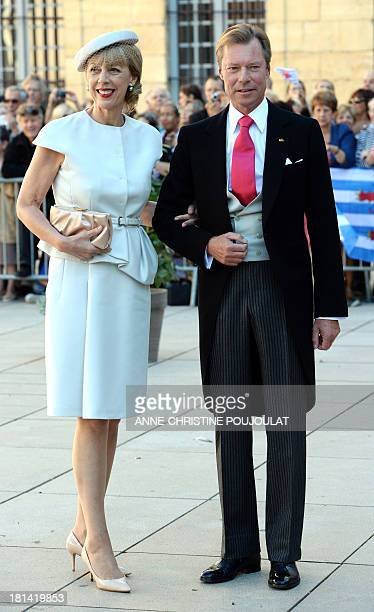 Gabriele LademacherSchneider wife of German businessman Hartmut Lademacher and Grand Duke Henri of Luxembourg arrive at the Wedding Ceremony of...