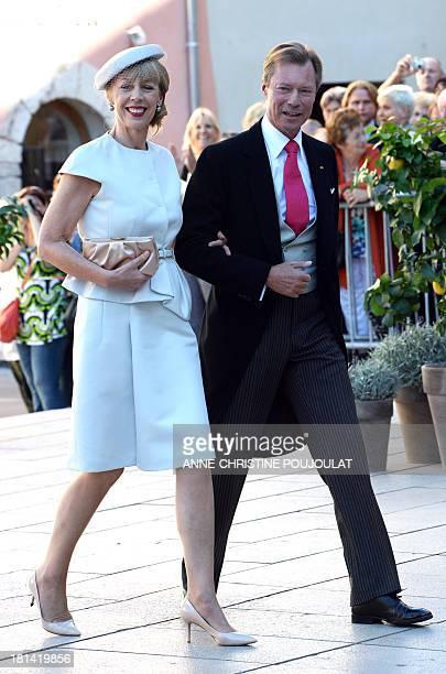 Gabriele LademacherSchneider wife of German businessman Hartmut Lademacher and Grand Duke Henri of Luxembourg arrive at the Wedding Ceremony of...