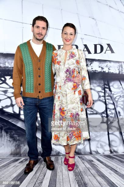 Gabriele Mainetti and Alice Vicario attend the cocktail reception to present Prada Resort 2018 collection on December 14th 2017 in Prada's Via dei...