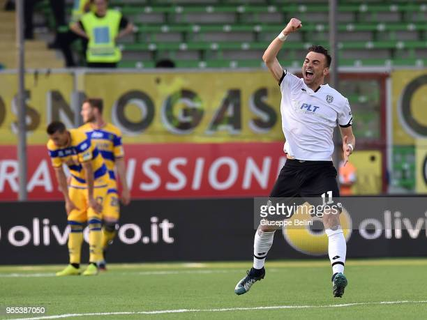 Gabriele Moncini of AC Cesena celebrates after scoring goal 11 during the serie B match between AC Cesena and Parma Calcio at Dino Manuzzi Stadium on...