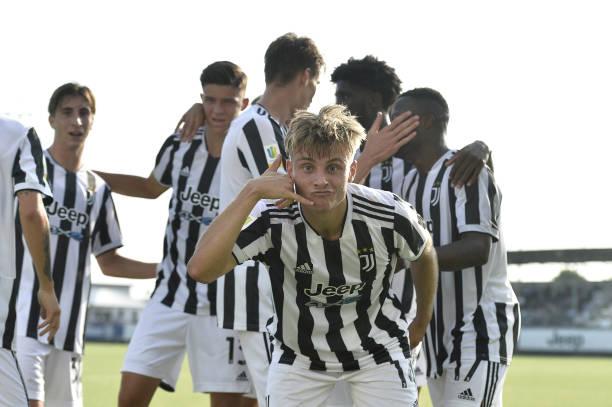 Gabriele Mulazzi of Juventus celebrates after scoring a goal during the UEFA Youth League match between Juventus U19 and Chelsea FC U19 at Juventus...