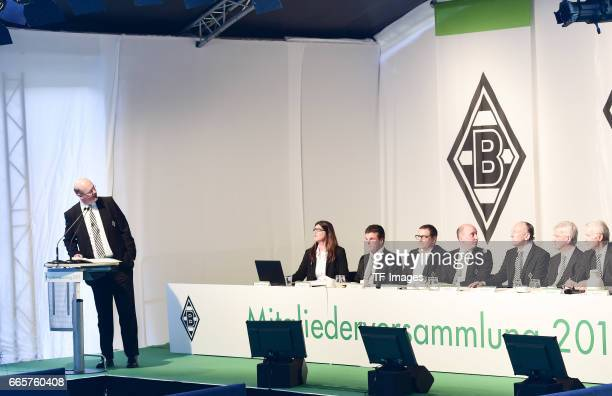 Gabriele Onkelbach and Dieter Hecking and Max Eberl and Stephan Schippers and Rolf Konigs and Siegfried Solle and Rainer Bonhof is seen during the...