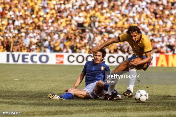 Gabriele Oriali of Italy and Eder of Brazil during the second stage of the 1982 FIFA World Cup match between Italy and Brazil, at Sarria Stadium,...